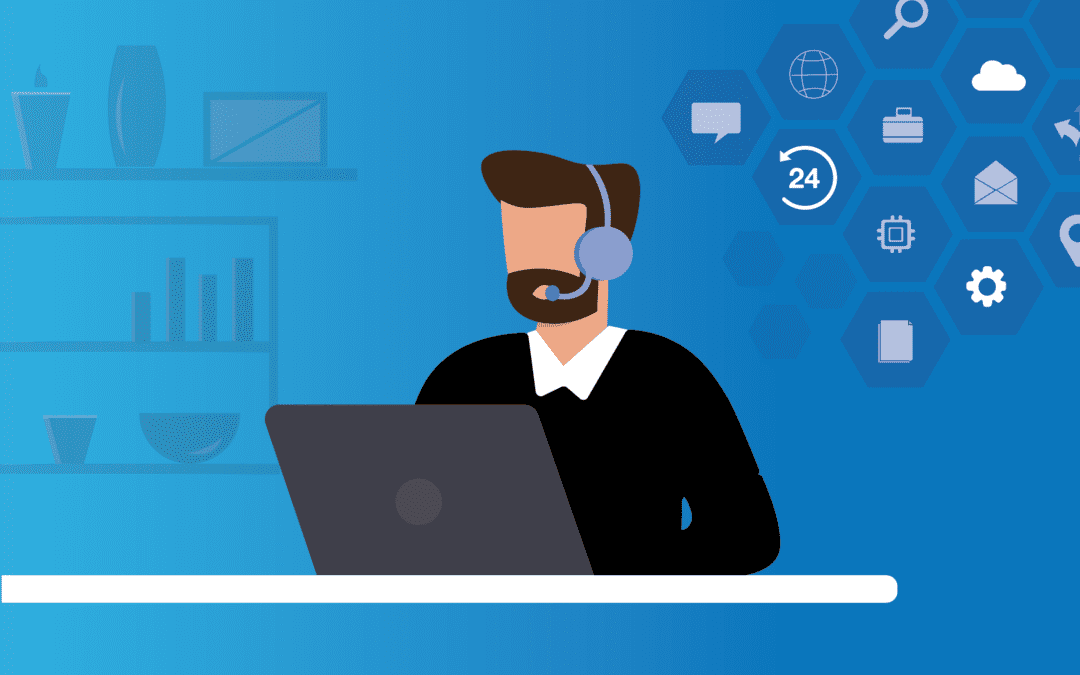 A graphic of an individual at a desk representing a virtual CIO