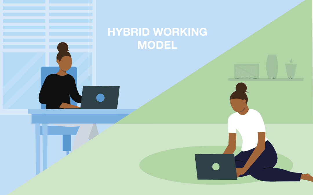 A picture of home and office working to represent hybrid working