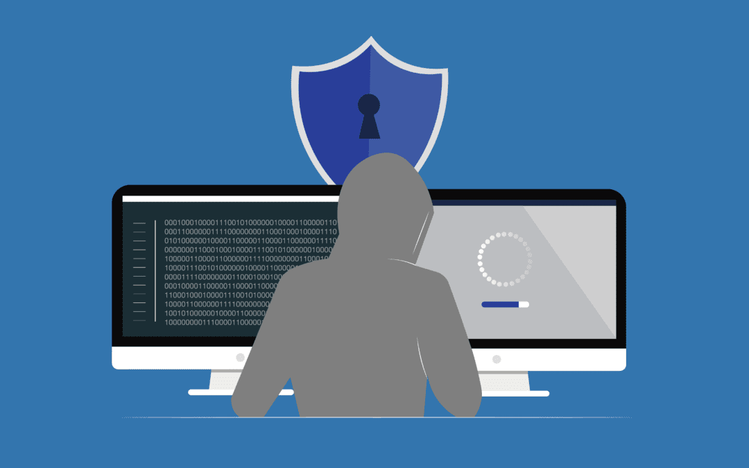 A graphic of a hacker to represent business cybersecurity solutions.
