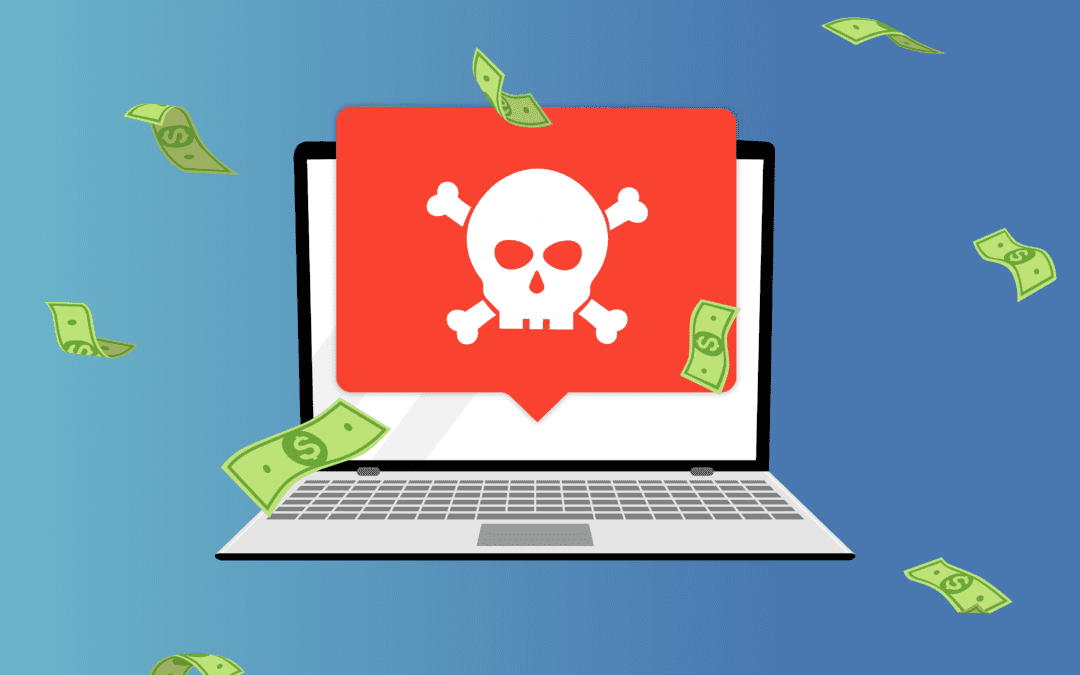 A graphic of a red skull and crossbones in a message pop-up coming out of a laptop to represent the Kaseya ransomware supply chain attack.
